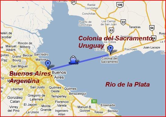 Colonia del Sacramento, Uruguay Map