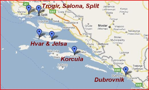 Map of Croatia Dalmatian Coast Croatia Dalmatian Coast