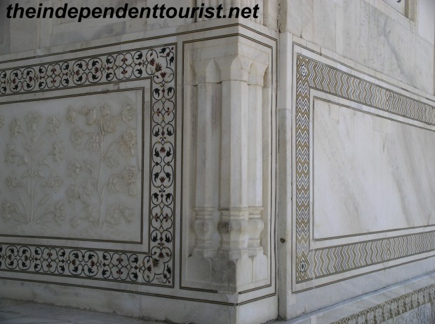 Detail of marble work at Taj Mahal.
