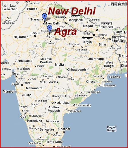 Map of New Delhi and Agra.