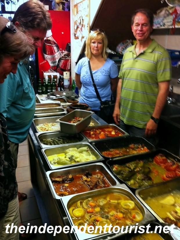 Choosing dinner in  Rhodes