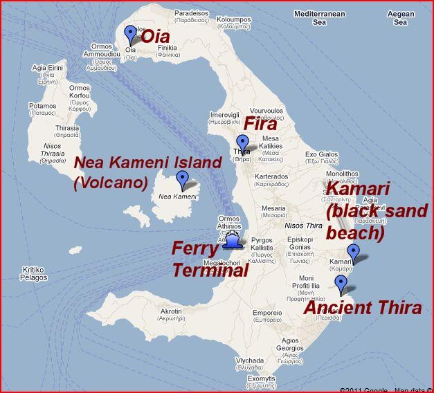 Map of Santorini Island The Independent Tourist