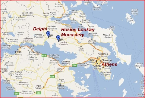 Map of day trips from Athens