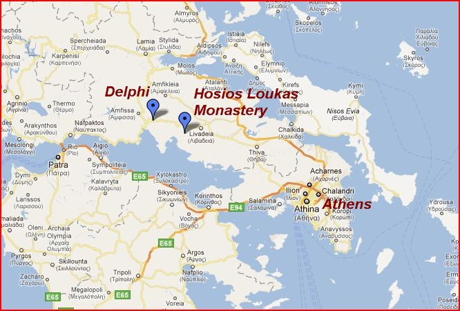 Hosios Loukas and Delphi Greece Map | The Independent Tourist