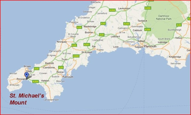 St. Michael's Mount_England_Map