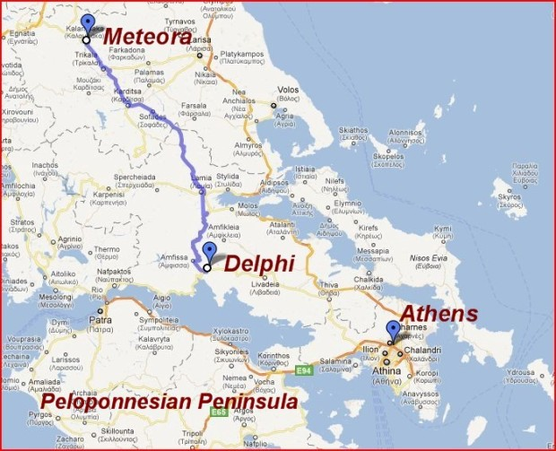 Meteora Map, Greece.