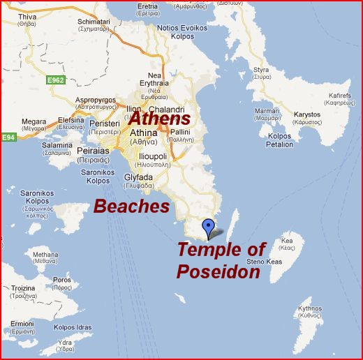 Temple of Poseidon, Greece Map.
