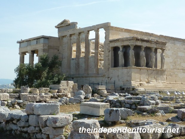 Erechtheion Temple, Acropolis, Athens, Greece.