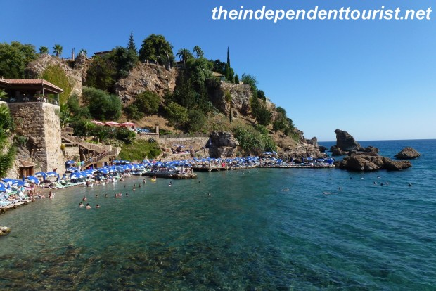The beautiful coastline of Antalya. We ate at an excellent restaurant overlooking this beach.