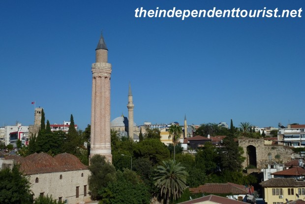 The 13th century Fluted Minaret - a major landmark of Antalya.This minaret was once covered in turquoise tiles.