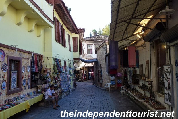 Antalya's old town shopping area.