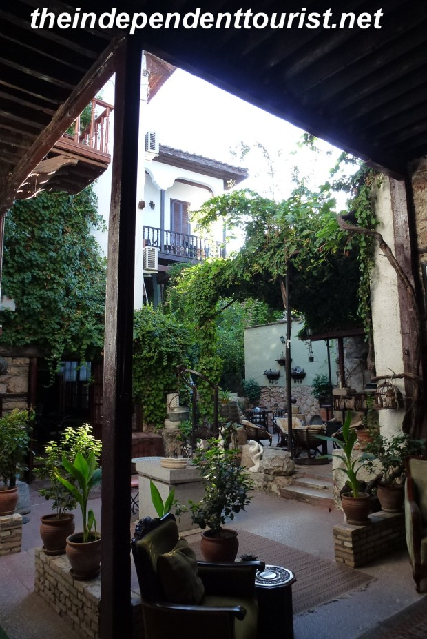 The interior courtyard of the Atelya Hotel, in the old part of Antalya.