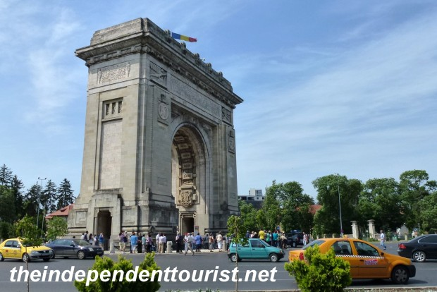 Bucharest's Triumphal Arch. Built in 1935 to commemorate the reunification of Romania in 1918. For a fee,you can climb to the top.