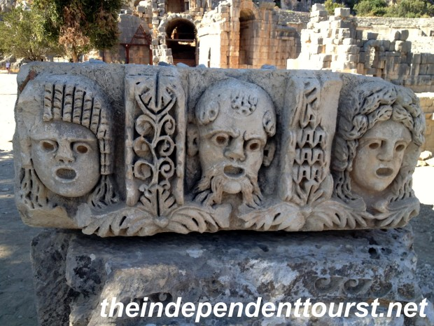 Stone carving of actors' masks at the theater in Myra.