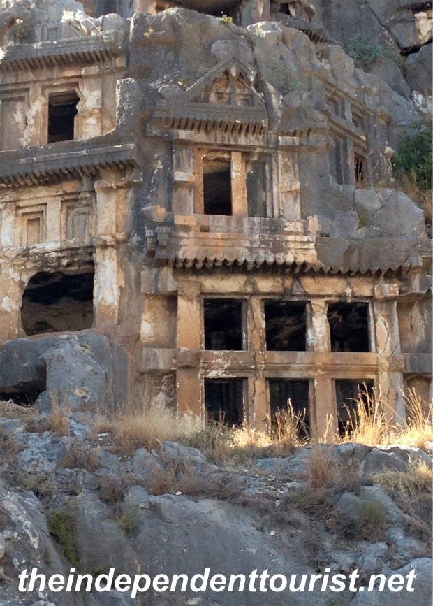 View of the rock carved tombs at Myra.