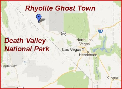 Rhyolite is about 120 miles northwest of Las Vegas, NV.