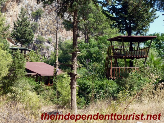 "Examples of the ""tree house"" accomodations in Cirali."
