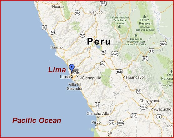Lima is about at the midpoint of the coast of Peru, right on the Pacific Ocean.