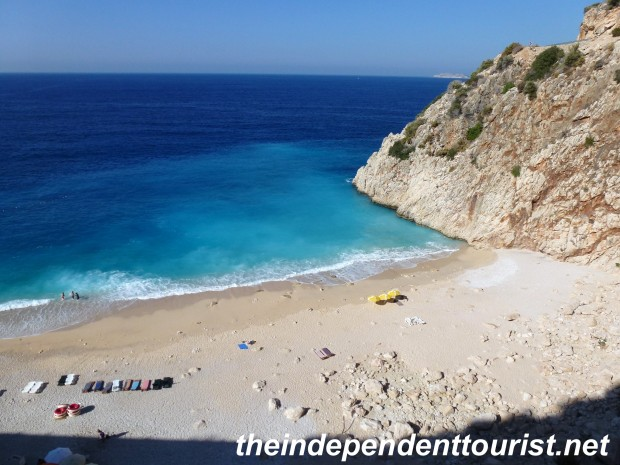 "Kalkan Beach, one of the ""postcard"" images of Turkey. This stunning beach is just west of Kaş, right where the road turns north and inland towards Pinara."