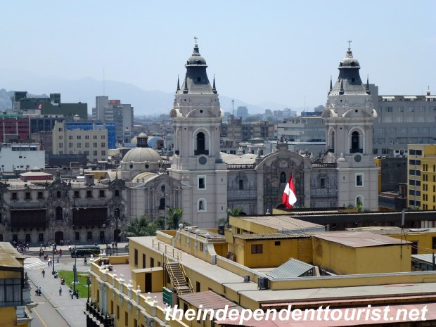 A view of the Lima Cathedral from the Convento de Santo Domingo.