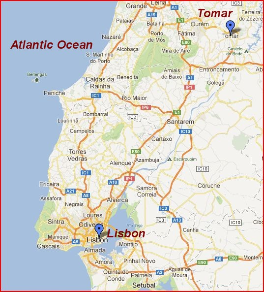 Tomar is 2 hours by train (137km) northeast of Lisbon.