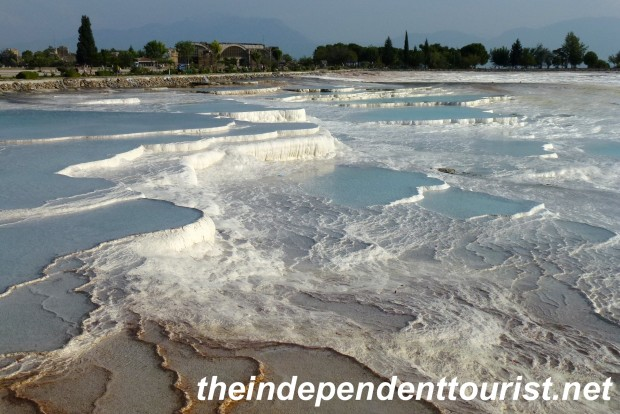 Some of the travertine terraces at Pamukkale.
