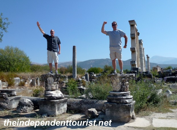 Paul and Brad at the Temple of Aphrodite doing their best Roman Emperor imitation.