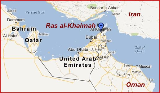 Ras al-Khaimah is at the northeastern end of the UAE.