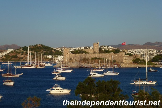 The view of the harbor and Castle of St. Peter from our hotel.