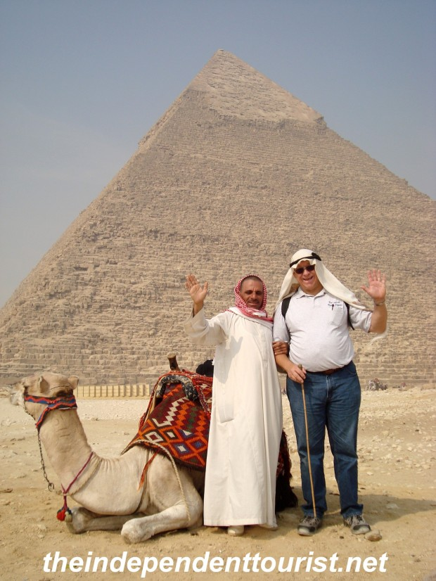 My brother-in-law doing the touristy thing (why not?) in front of the Pyramid of Khafre.