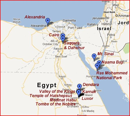 Major locations visited in Egypt.