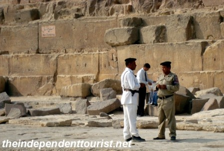 Tourist police at the Pyramids of Giza.