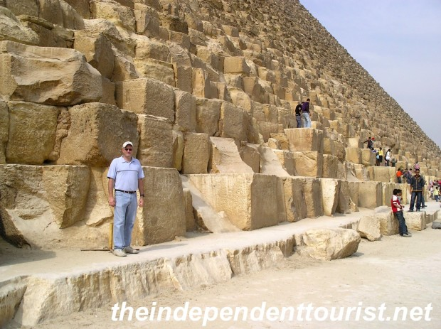This photo of me by the Great Pyramid of Khufu (or Cheops) puts into perspective how massive these structrues are.