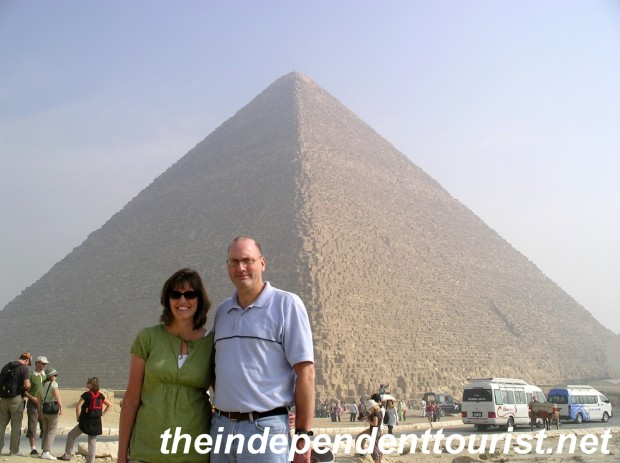 The Great Pyramid. 450 feet high. The haze is the smog of Cairo - which was very bad on the day of our visit.