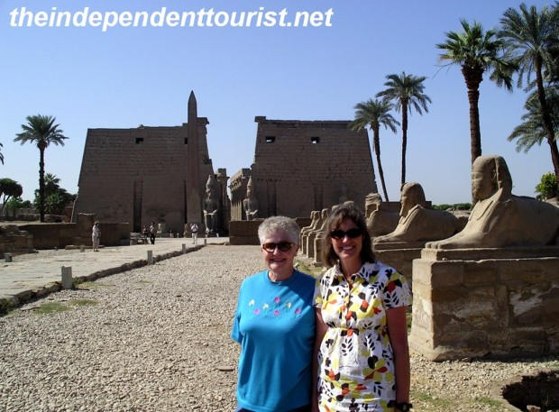 My wife and mother-in-law at the Luxor Temple.