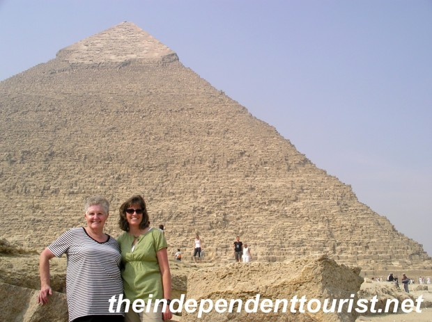 My mother-in-law and wife in front of the Pyramid of Khafre. It's the only one with a bit of the brillant outer limestone layer left at the top.