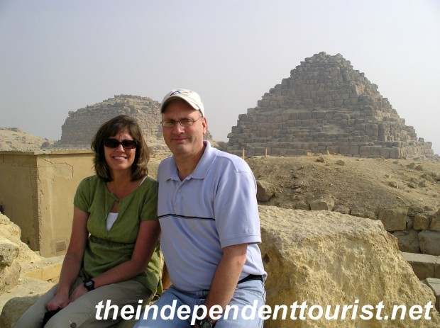 In front of the Queen's pyramids next to the Great Pyramid.