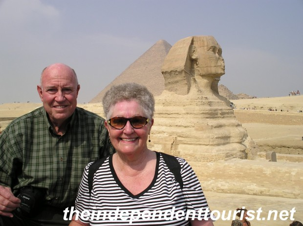 My in-laws at the Sphinx (Great Pyramid of Khufu in the background).