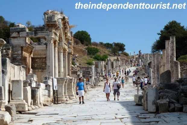 Kurets (or Curetes) Street, a major thoroughfare anciently and today in Ephesus.