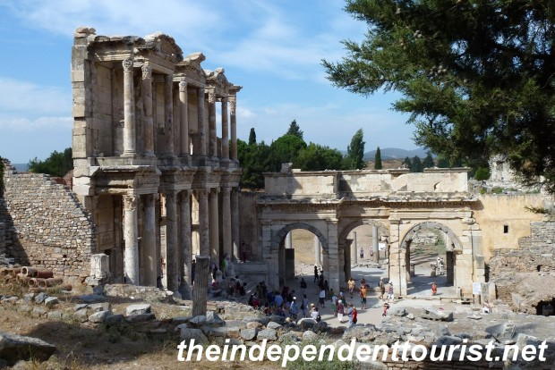A different view of the Library of Celsus.