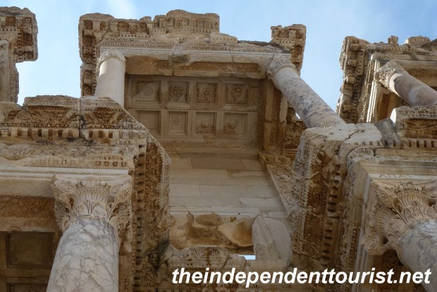 Detail of the stone work at the Library of Celsus.