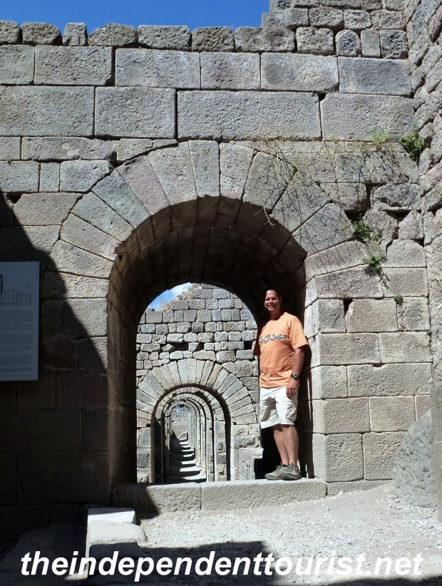 These archways are part of the hillside infrastructure to support the Temple of Trajan and other buildings at Pergamum.