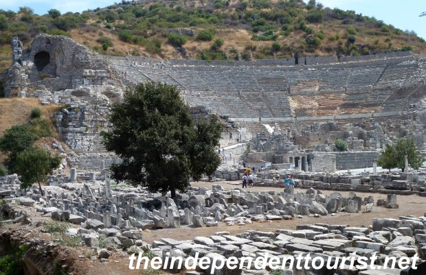 The huge theater at Ephesus, which dates from the 2nd century BC, but most of what we see is from the Roman era.  It could seat 20,000-25,000 people.