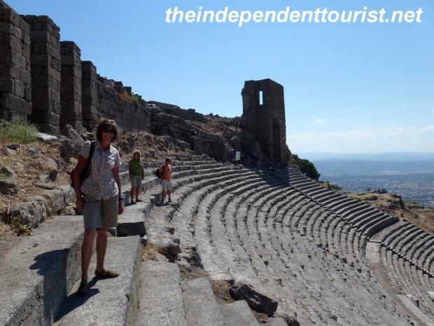 Exploring the theater at Pergamum.