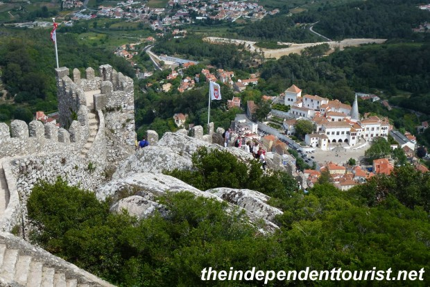 Looking down on Palácio Nacional de Sintra (middle right of picture) from the castle walls.