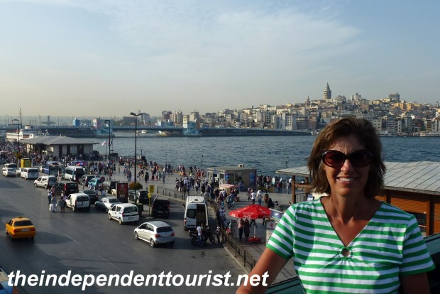 The Golden Horn. The Galata Tower is on the hill. Underneath the bridge in the distance are many seafood restaurants.