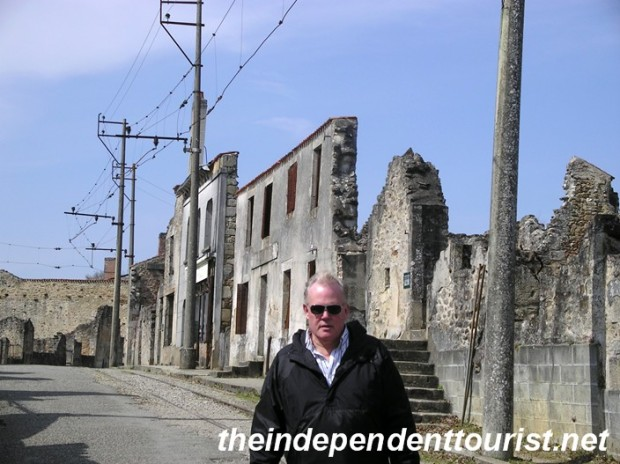 My brother on a main street of Oradour-sur-Glane.