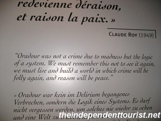 A powerful quote by Claude Roy (1949) in the Visitor's Center.