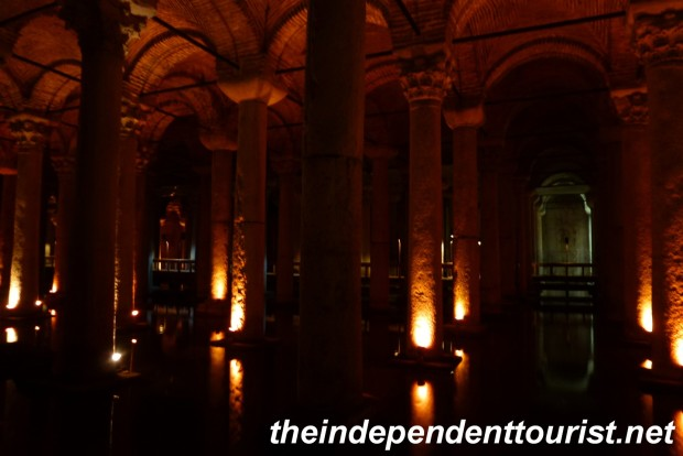 A view in the cisterns. The lighting is quite dark, giving the place an eerie feel.