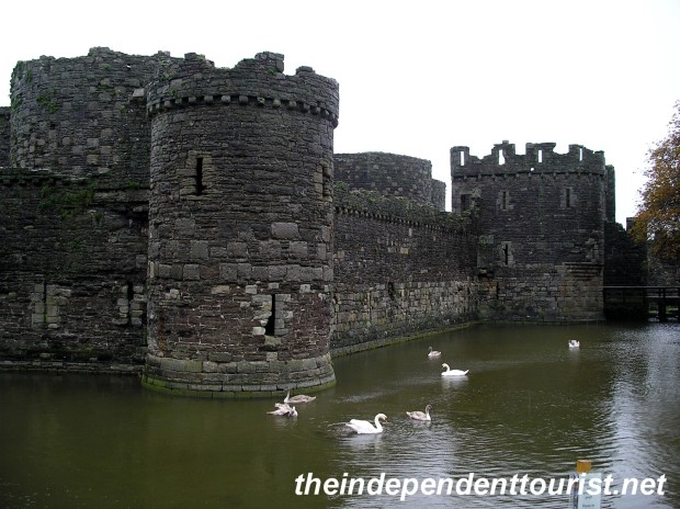The exterior and moat of Beaumaris Castle.